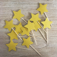 Star Cupcake Topper - Gold